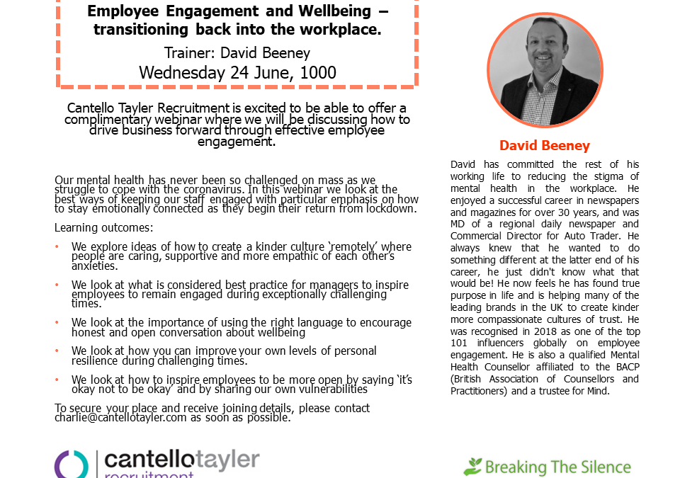 Complimentary webinar – Employee Engagement and Wellbeing – transitioning back into the workplace.
